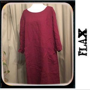 FLAX✨ Maroon Wine Linen Dress w Pockets